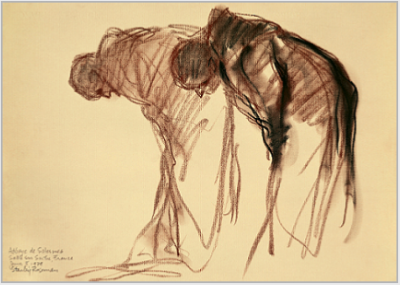 "Drawing by Stanley Roseman, ""Two Monks Bowing in Prayer,"" 1979, Abbaye de Solesmes, France, chalks on paper, National Gallery of Art, Washington, D.C. � Stanley Roseman."