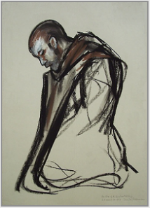 "Drawing by Stanley Roseman, ""Brother Ole kneeling in Prayer,"" 1997, St. Adelbert Abbey, The Netherlands, chalks on paper, Collection of St. Adelbert Abbey. © Stanley Roseman."
