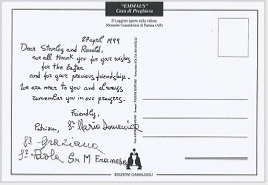 Postcard from the Camaldolese nuns of Casa Emmaus, Tuscany, to Stanley Roseman and Ronald Davis, 1999.