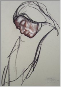 "Drawing by Stanley Roseman, ""Sister Paola at Vespers,"" 1998, Casa Emmaus, Italy, chalks on paper, Collection of the artist. © Stanley Roseman."