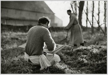 Stanley Roseman drawing Brother Dries at St. Sixtus Abbey, Belgium, 1981. © Photo by Ronald Davis
