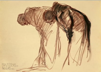 "Drawing by Stanley Roseman, ""Two Monks Bowing in Prayer,"" 1979, Abbaye de Solesmes, France, chalks on paper, National Gallery of Art, Washington, D.C."