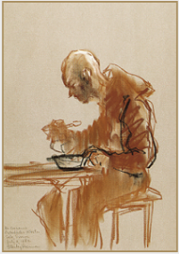 "Drawing by Stanley Roseman, ""Brother Caesarius at Breakfast,"" 1982, Ostanbacks Kloster, Sweden, chalks on paper, Institute of Art History, University of Leiden. © Stanley Roseman."