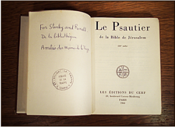A gift copy of the Book of Psalms dedicated in friendship by Frère Benoît, librarian, on behalf of the monks of the Abbey of La Trappe to Stanley Roseman and Ronald Davis. Photo © Ronald Davis.