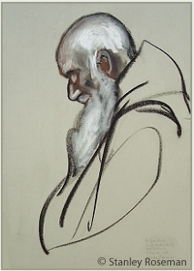 "Drawing by Stanley Roseman, ""Brother Jan Bosco in Prayer,"" St. Sixtus Abbey, Belgium, 1998, chalks on paper, Collection of the artist. © Stanley Roseman"