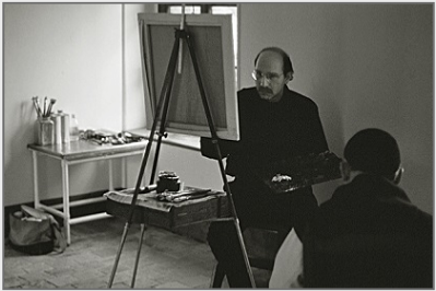 Stanley Roseman painting in his studio at the Abbey of La Trappe, 2002. © Photo by Ronald Davis