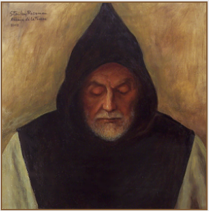 "Painting by Stanley Roseman, ""Frère Samuel, Portrait of a Trappist Monk in Prayer,'' 2002, Abbey of La Trappe, France, oil on canvas, Collection of the artist. © Stanley Roseman"