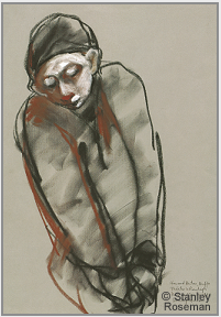 "Drawing by Stanley Roseman, ""Buffo,"" 1995, chalks on paper, Teylers Museum, The Netherlands. © Stanley Roseman."