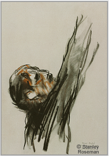 "Drawing by Stanley Roseman, ""The Chimney Sweep Marc André,"" 1989, chalks on paper, Teylers Museum, Haarlem. © Stanley Roseman."