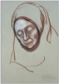 "Drawing by Stanley Roseman, ""Portrait of Soeur Monique"" 1998, Abbaye d'Echourgnac, France, chalks on paper, Private collection, France. © Stanley Roseman"
