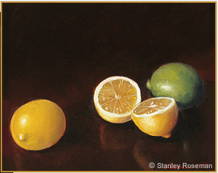 "Still life by Stanley Roseman, ""Lemons and Lime,"" 1975, oil on canvas, Private collection. © Stanley Roseman."