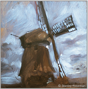 "Painting by Stanley Roseman, ""Windmill at Schermerhorn,"" 1978, oil on panel, Private collection, The Netherlands. © Stanley Roseman."