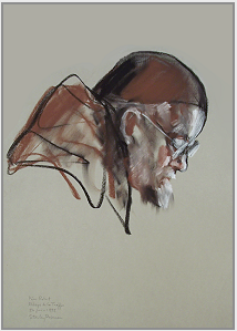 "Drawing by Stanley Roseman, ""Portrait of Père Robert,"" 1998, Abbey of La Trappe, France, chalks on paper, Collection of the artist. © Stanley Roseman"