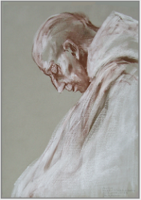 "Drawing by Stanley Roseman, ""Brother Luis in Prayer,"" 1998, Abbey of San Pedro de Cardeña, Spain, chalks on paper, Private collection, Switzerland. © Stanley Roseman."