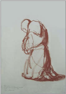 "Drawing by Stanley Roseman, ""Brother Luis kneeling in Prayer,"" 1998, Abbey of San Pedro de Cardeña, Spain, bistre chalk on paper, Private collection, Belgium. © Stanley Roseman."