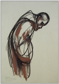 "Drawing by Stanley Roseman, ""A Cistercian Monk at Vespers,'' 1998, Abbey of Chiaravalle Milanese, Italy, chalks on paper, Private collection. © Stanley Roseman"