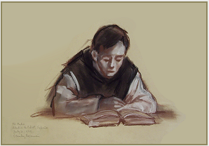 "Drawing by Stanley Roseman, ""Brother Pedro in the Library,"" 1979, Abbey of Poblet, Spain, chalks on paper, Private collection, New York. © Stanley Roseman"