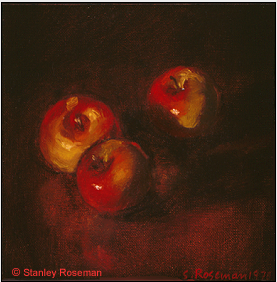 "Still life by Stanley Roseman, ""Les Pommes sauvages,"" 1978, oil on canvas, Musée Ingres, Montauban. © Stanley Roseman."