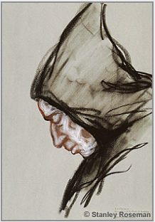 "Drawing by Stanley Roseman, ""Padre Valeriano in Prayer,"" 1998, Abbey of San Pedro de Cardeña, Spain, chalks on paper, Victoria and Albert Museum, London. © Stanley Roseman."