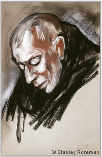 "Drawing by Stanley Roseman, ""Portrait of Frère Augustin in Prayer,"" 1998, Abbey of Solesmes, France, chalks on paper, Private collection, Geneva. © Stanley Roseman."