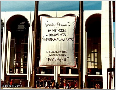 "Lincoln Center Plaza with the banner announcing the exhibition ""Stanley Roseman - The Performing Arts in America"" at the Library and Museum for the Performing Arts, Lincoln Center, New York City, 1977. © Photo Stanley Roseman and Ronald Davis"