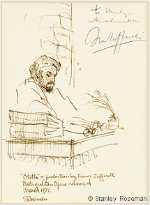 "Drawing by Stanley Roseman of James McCracken as Otello in Zeffirelli's production ""Otello,"" Metropolitan Opera, 1972. Autographed and inscribed, ""To Stanley, with admiration, Franco Zeffirelli."" Collection of the artist. © Stanley Roseman"