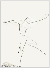 "Drawing by Stanley Roseman of Paris Opéra star dancer Kader Belarbi, ""The Four Seasons,"" 1996, Uffizi Gallery, Florence. © Stanley Roseman"