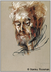 "Drawing by Stanley Roseman, ""Brother Peter,"" 1983, Mount St. Joseph Abbey, Roscrea, Ireland, chalks on paper, Albertina, Vienna. © Stanley Roseman"
