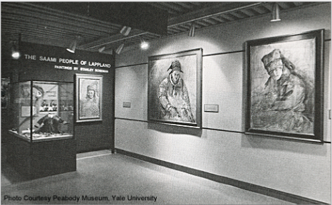 """The Saami People of Lappland"" exhibition with paintings by Stanley Roseman, Peabody Museum, Yale University, 1977. Photo courtesy Peabody Museum"