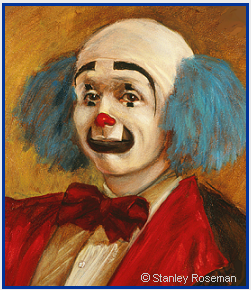 Painting by Stanley Roseman of the circus clown Keith Crary (detail), 1973, Collection of the artist. © Stanley Roseman