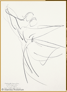"Drawing by Stanley Roseman of Paris Opera star dancers Charles Jude and Florence Clerc, ""Comme on respire,"" 1991, Uffizi Gallery, Florence. © Stanley Roseman."