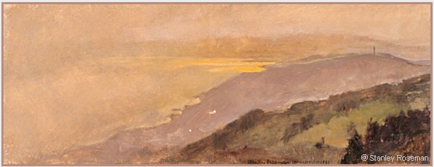 "Landscape painting by Stanley Roseman , ""Spring Evening - View of Mont-Pèlerin and Lake Geneva,"" 1988, oil on panel, Musée des Beaux-Arts, Rouen. © Stanley Roseman"