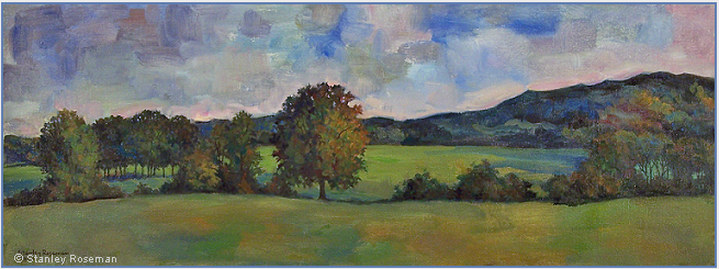 "Landscape painting by Stanley Roseman , ""A Summer Afternoon in Lorraine,"" 2009, oil on canvas, Private collection, Illinois. © Stanley Roseman"