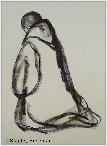 "Drawing by Stanley Roseman, ""Dom Damian, A Benedictine Monk Kneeling in Prayer,"" 1980, St. Augustine's Abbey, Kent, England, chalks on paper, Private collection. © Stanley Roseman."