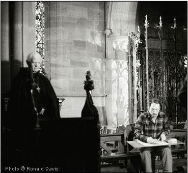 Stanley Roseman drawing Abbot Emeritus David Parry in choir in the church of St. Augustine's Abbey, England, 1980. Photo © Ronald Davis
