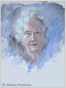 Portrait by Stanley Roseman of Helena, 1974, oil on Strathmore paper, Private collection. © Stanley Roseman