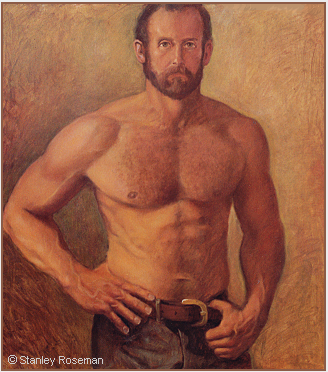Portrait by Stanley Roseman of Roger, 1973, oil on canvas, Private collection, New York. © Stanley Roseman.