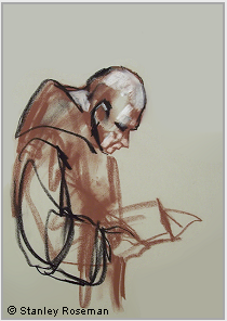 "Drawing by Stanley Roseman, ""Brother Hugh at Vespers,"" 1999, Elmore Abbey, England, chalks on paper. Private collection. © Stanley Roseman"