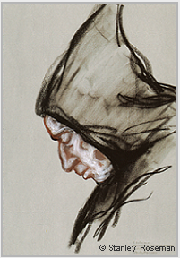 "Drawing by Stanley Roseman, ""Padre Valeriano, Portrait of a Trappist Monk in Prayer,"" 1998, Abbey of San Pedro de Cardeña, Spain, chalks on paper, Victoria and Albert Museum, London. © Stanley Roseman."