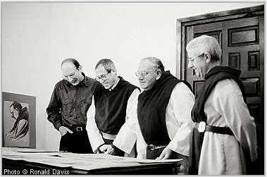From left to right: Stanley Roseman, Brother David, Padre Jesús, and Abbot Marcos, Abbey of San Pedro de Cardeña, Burgos, 1998. The monks are making a selection of the artist's work as a gift from Roseman and Davis to the monastery.© Photo by Ronald Davis