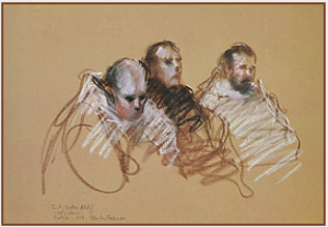 "Drawing by Stanley Roseman, ""A Visiting Benedictine in a Trappist Choir,''1978, St. Sixtus Abbey, Belgium, chalks on paper, Graphische Sammlung Albertina, Vienna. © Stanley Roseman"