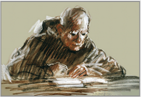 "Drawing by Stanley Roseman, ""Brother Adelbert absorbed in Reading,''1978, St. Adelbert Abbey, the Netherlands, chalks on paper, Private collection, Holland. © Stanley Roseman"