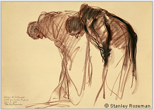 "Drawing by Stanley Roseman, ""Two Monks Bowing in Prayer,"" 1979, Abbey of Solesmes, France, chalks on paper, National Gallery of Art, Washington, D.C. © Stanley Roseman."