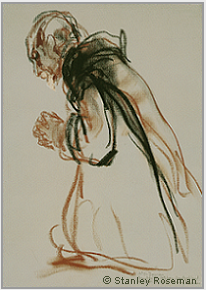 "Drawing by Stanley Roseman, ""Father Damian, Missionary Monk, kneeling in Prayer, 1984, Archabbey St. Ottilien, Germany. ©Stanley Roseman"