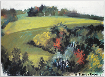 "Landscape drawing by Stanley Roseman, ""A Wooded Vale in Autumn,"" 2001, chalks and pastels on paper, Private collection, France. © Stanley Roseman"