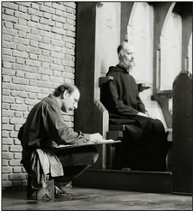 Stanley Roseman drawing Brother Thijs in choir, St. Adelbert Abbey, the Netherlands, 1997. © Photo by Ronald Davis