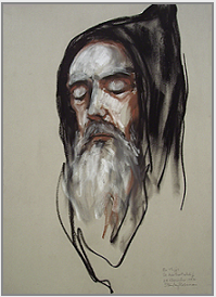 "Drawing by Stanley Roseman, "" Brother Thijs, Portrait of a Benedictine Monk in Prayer,"" 1997, St. Adelbert Abbey, the Netherlands, chalks on paper, Collection St. Adelbert Abbey. © Stanley Roseman"