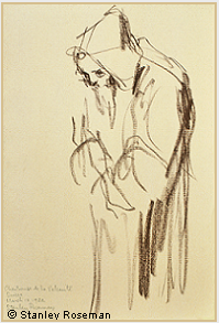 "Drawing by Stanley Roseman, ""A Carthusian Monk at Vigils,'' 1982, Chartreuse de la Valsainte, Switzerland, chalks on paper, Musée Ingres, Montauban. © Stanley Roseman."