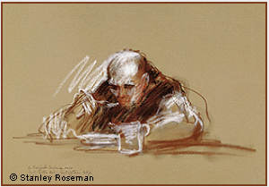 "Drawing by Stanley Roseman, ""A Trappist Monk at Dinner,''1978, St. Sixtus Abbey, Belgium, chalks on paper, Musée des Beaux-Arts, Bordeaux. © Stanley Roseman"