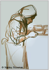"Drawing by Stanley Roseman, ""A Trappist Nun Carrying a Tray of Cheeses in the Fromagerie,"" 1998, Abbaye d'Echourgnac, France, chalks on paper, Private collection, France. © Stanley Roseman"
